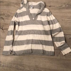 GAP White and Gray Striped Hooded Sweater Size M